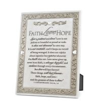 Placa din rasina - Faith, Hope & Love