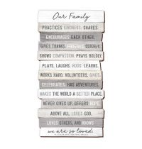 Placa din MDF - Our Family Practices Kindness - mare