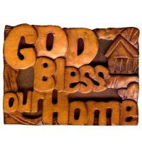 Magnet din lemn - God Bless our Home