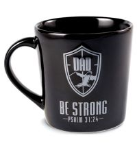 Cana din ceramica neagra Be strong Dad