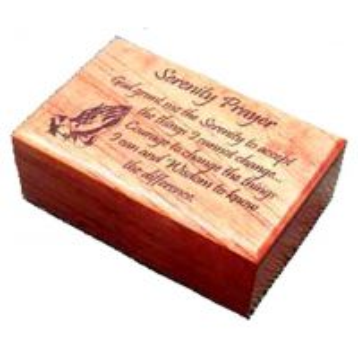 Cutiuta de lemn cu capac gravat - Serenity Prayer