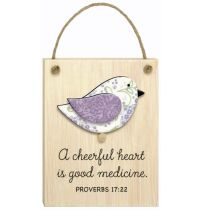 Mini placa din lemn - A cheerful heart