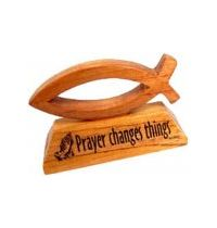 Ornament de masa din lemn - Prayer changes things