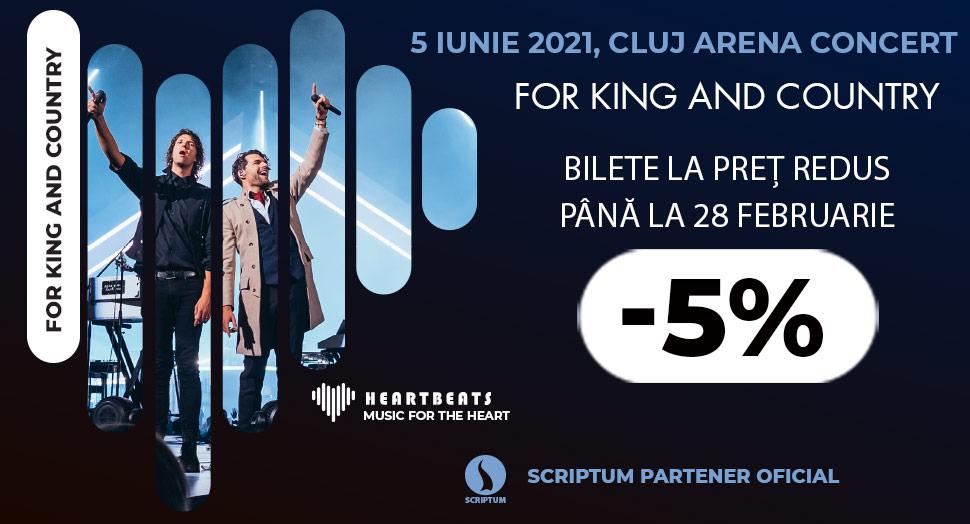 Reducere la bilete pentru concertul For King and Country